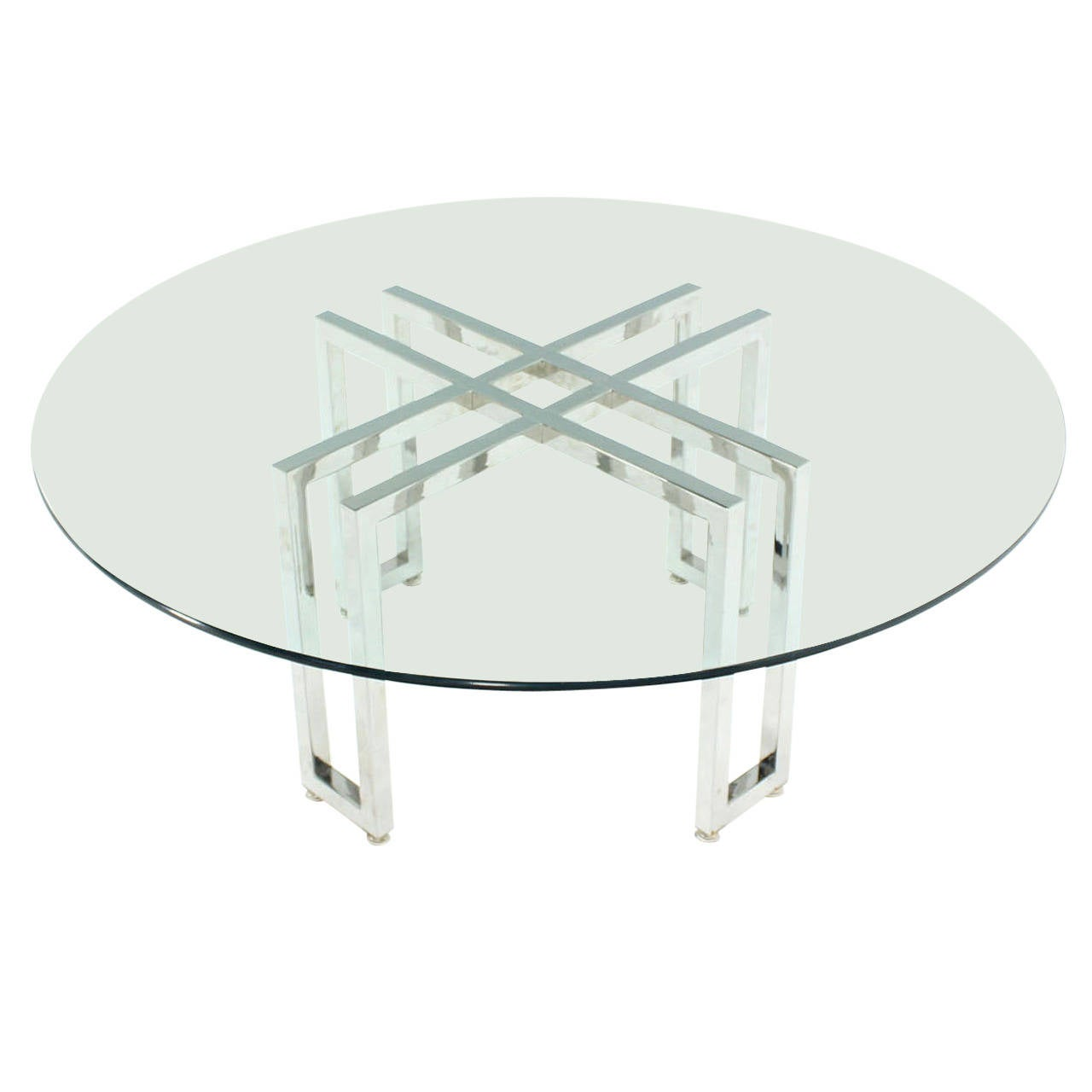 Double parallel xbase round coffee table for sale at 1stdibs for Double round coffee table