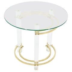 Charles Hollis Jones Round Lucite and Brass Side Table