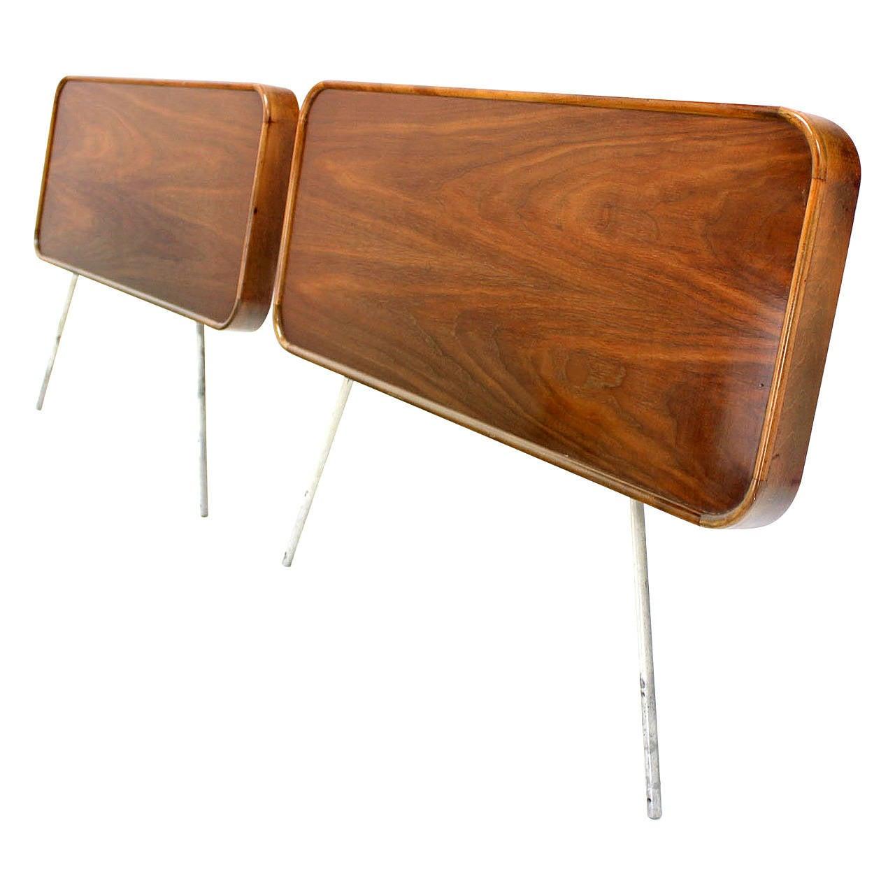 Pair Of George Nelson For Herman Miller Walnut Twin Headboards At - Herman miller bedroom furniture