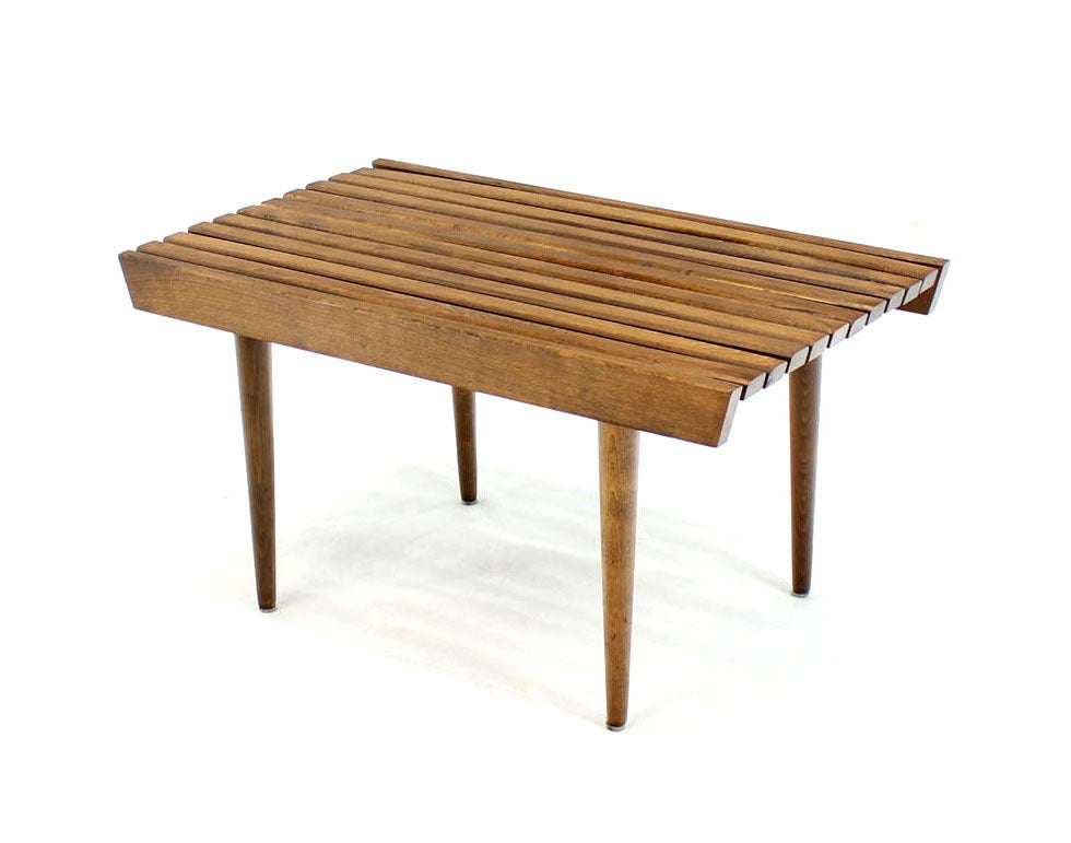 Pair Of Danish Slat Wood Short Benches At 1stdibs