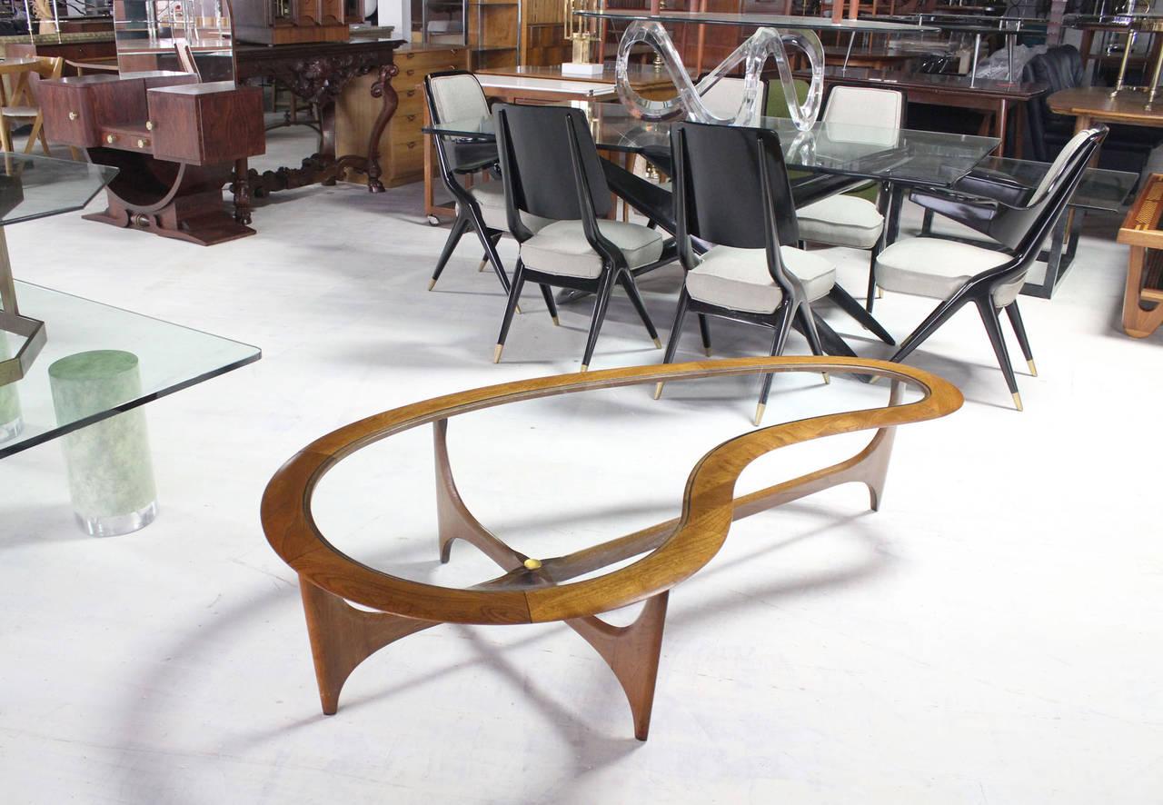 Organic Kidney Shape MidCentury Modern Walnut Coffee Table at 1stdibs