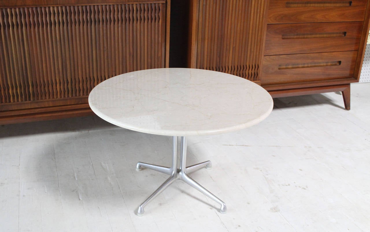La Fonda Charles Eames White Marble Top Coffee Table At 1stdibs
