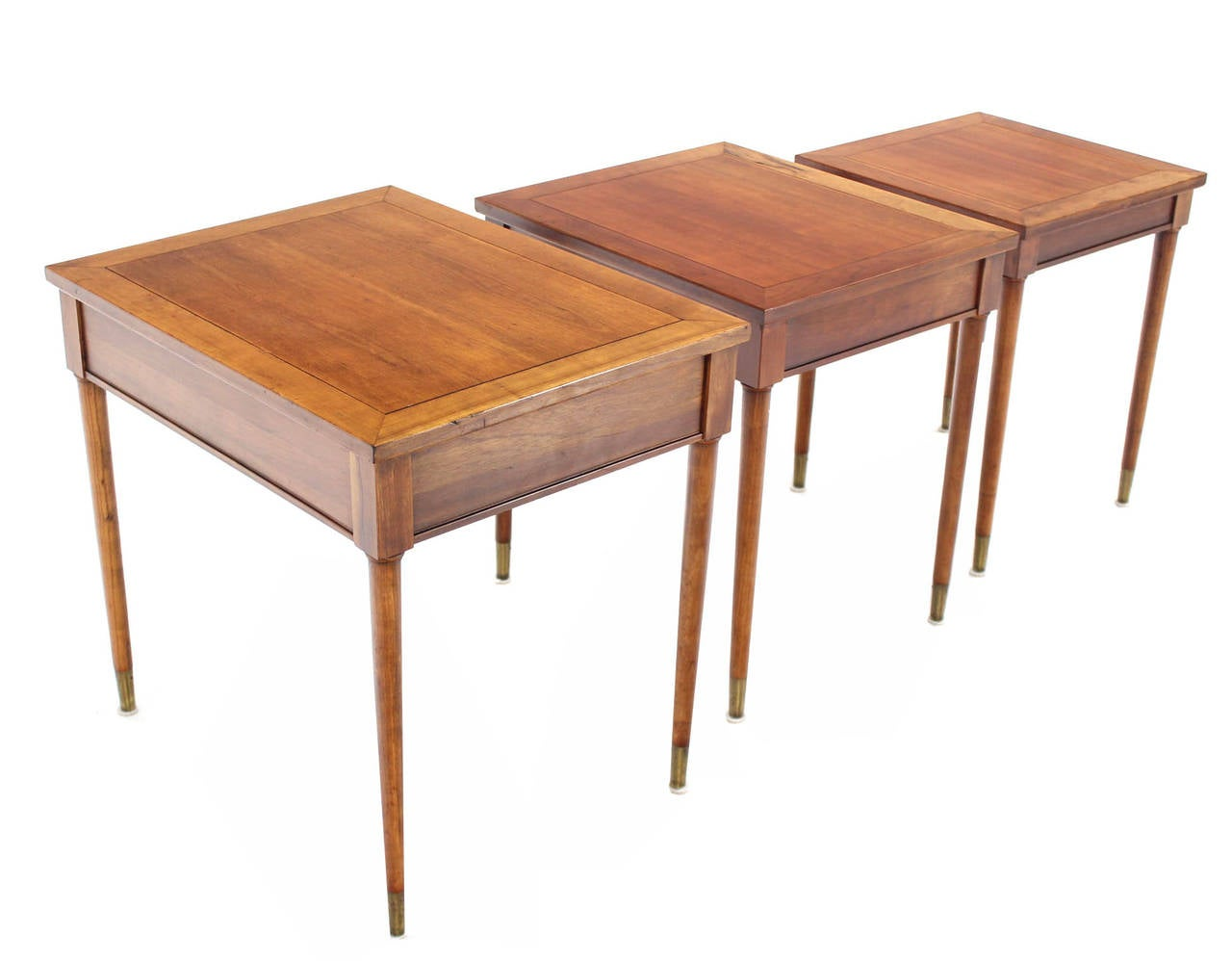 Cherry Set of Three Mid-Century Modern Walnut Nesting Tables For Sale