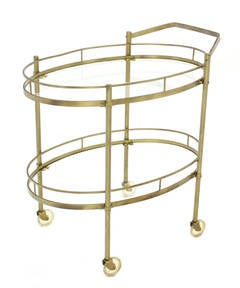 Oval Brass amd Glass Tea Cart on Wheels