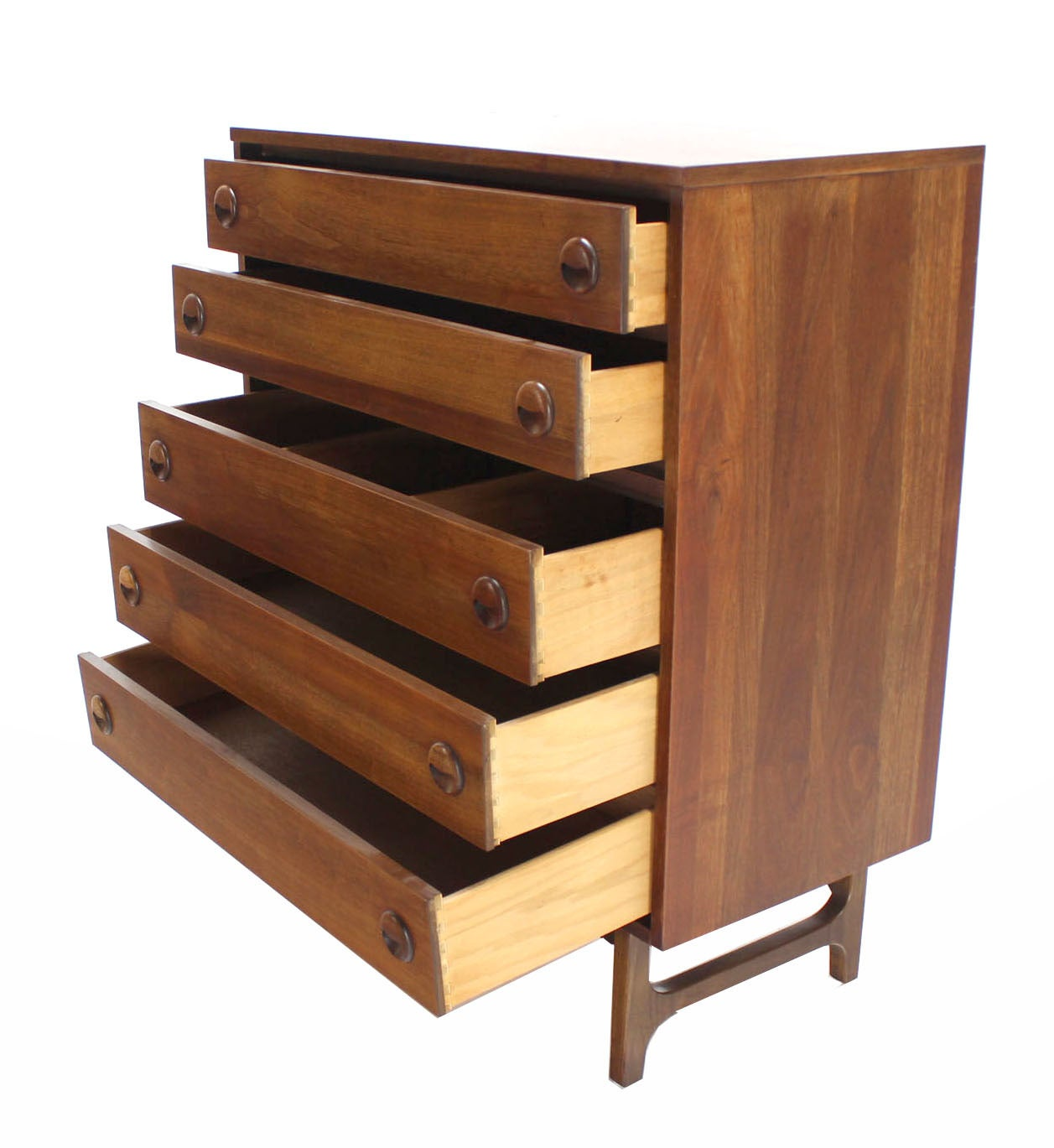 Mid-Century Danish Modern Walnut High Chest of Drawers or Dresser 5