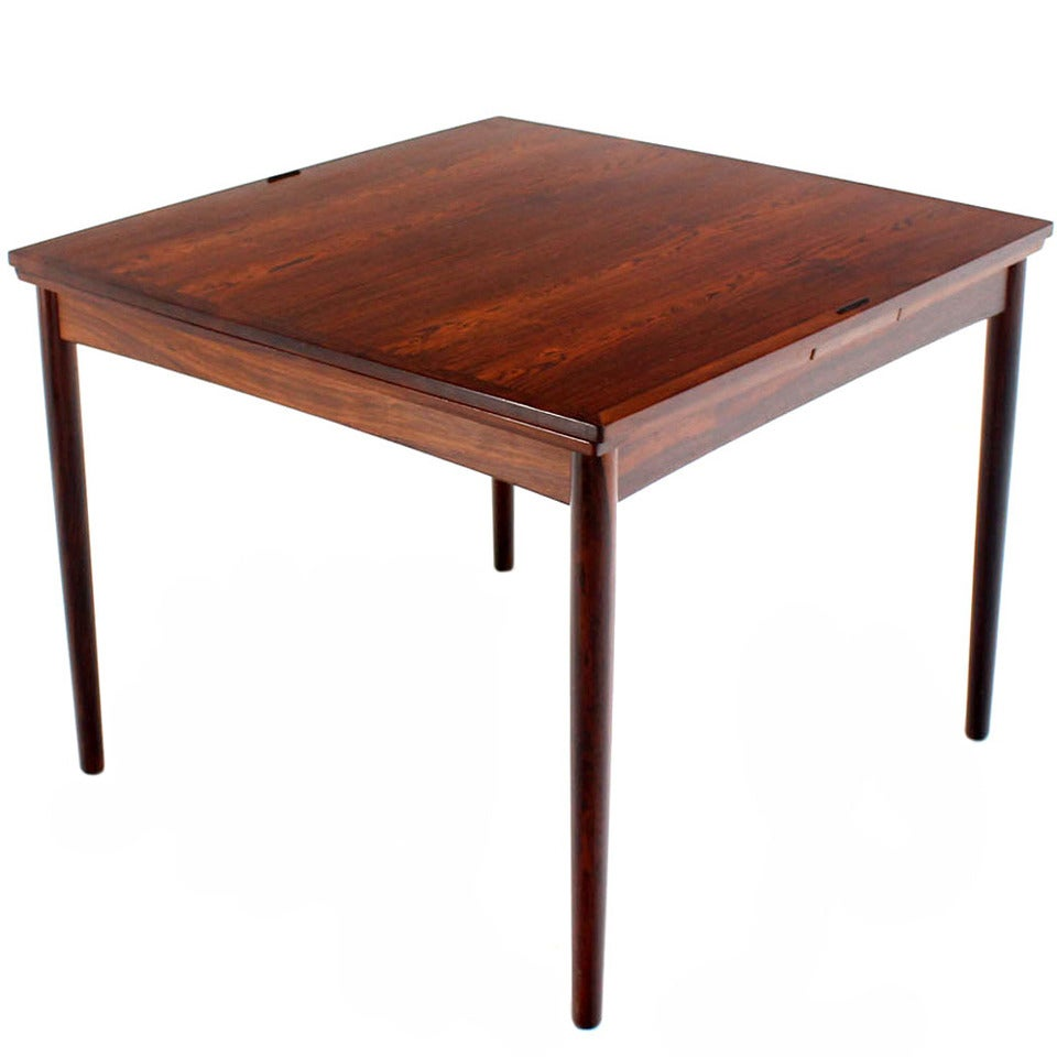 Danish Mid Century Modern Rosewood Flip Top Extendable Game Table 1