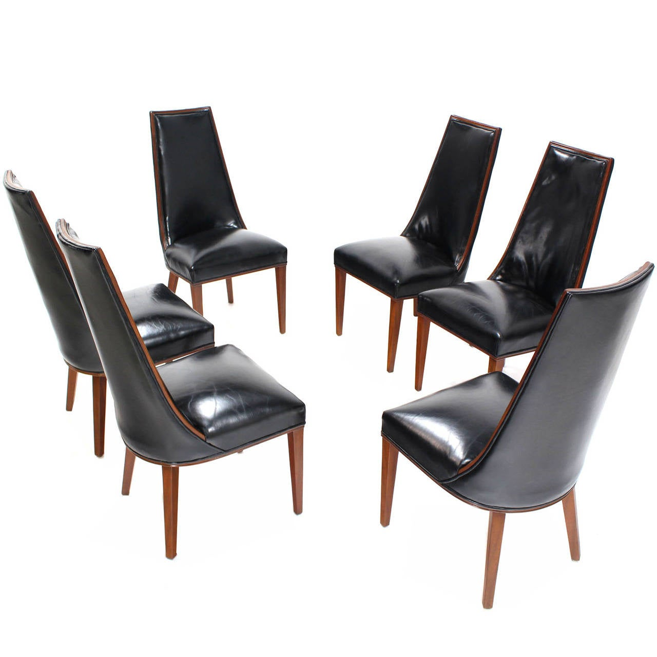 set of six tall back high quality leather dining chairs at 1stdibs. Black Bedroom Furniture Sets. Home Design Ideas
