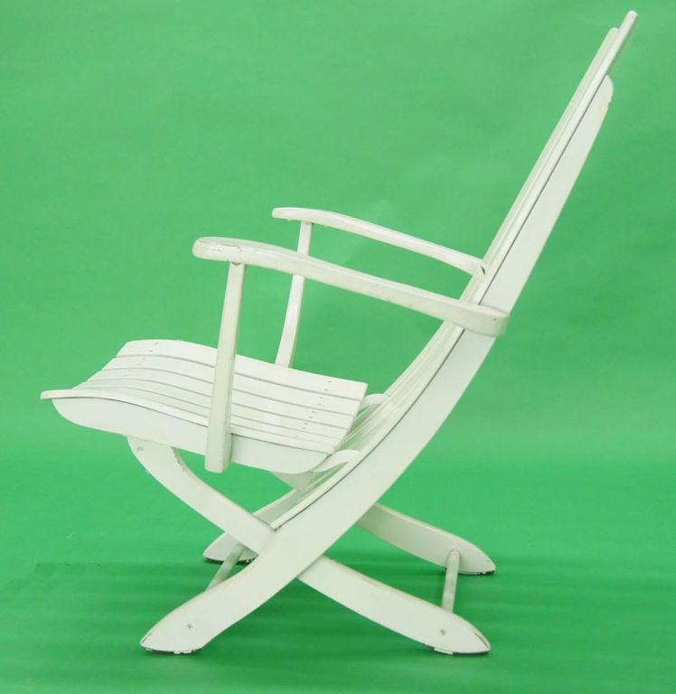 Pair of outdoor folding lounge chairs ottomans by
