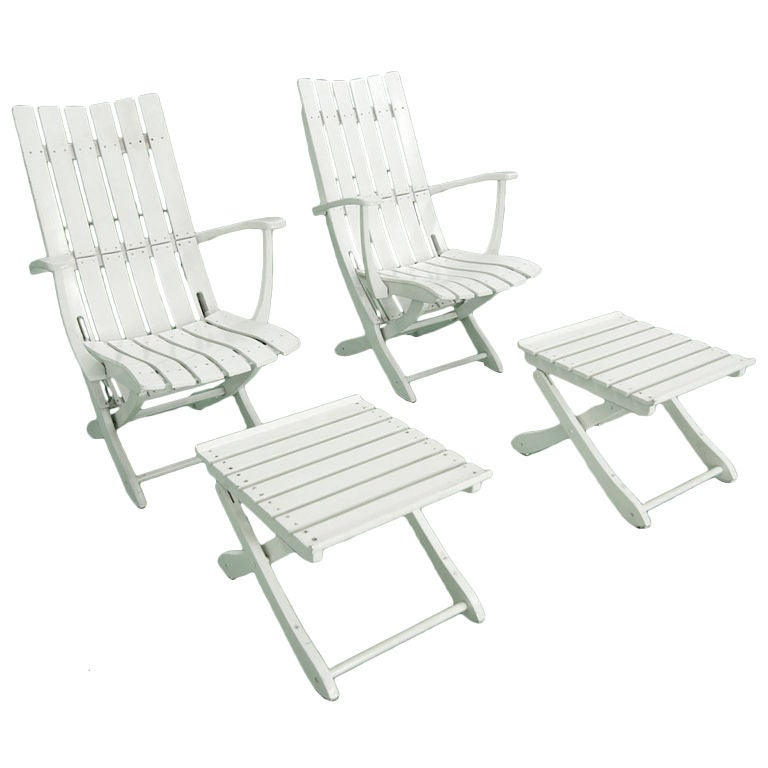 Pair Of Outdoor Folding Lounge Chairs + Ottomans By Triconfort 1