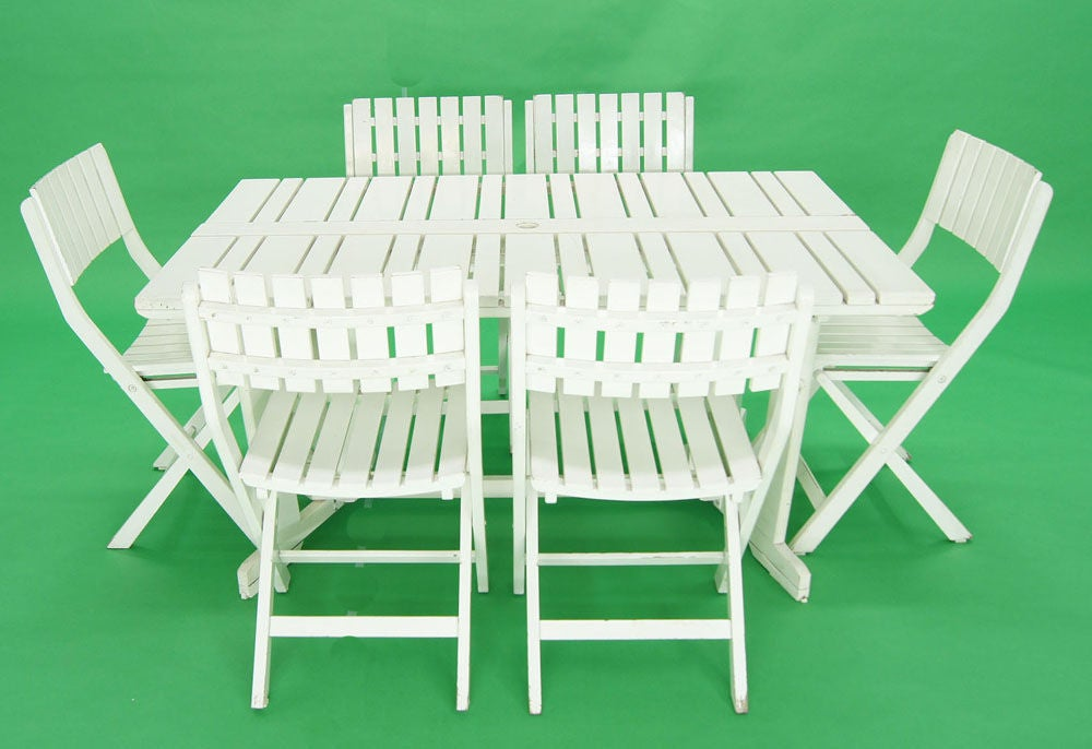 Triconfort French C 1960 S Outdoor Folding Table And 6
