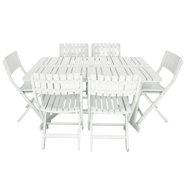 Triconfort French C.1960u0027s Outdoor Folding Table And 6 Chairs 1
