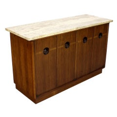 Midcentury Danish Travertine-Top Walnut with Rosewood Server or Credenza