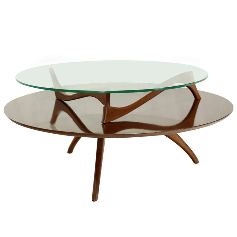 Walnut and glass round two tier center or coffee table for Center table coffee table
