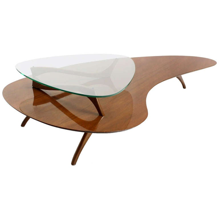 Mid century modern kidney organic shape walnut coffee table w glass top at 1stdibs Mid century coffee tables
