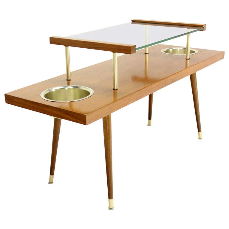 Mid-Century Modern Walnut and Glass-Top Console Table with Planters