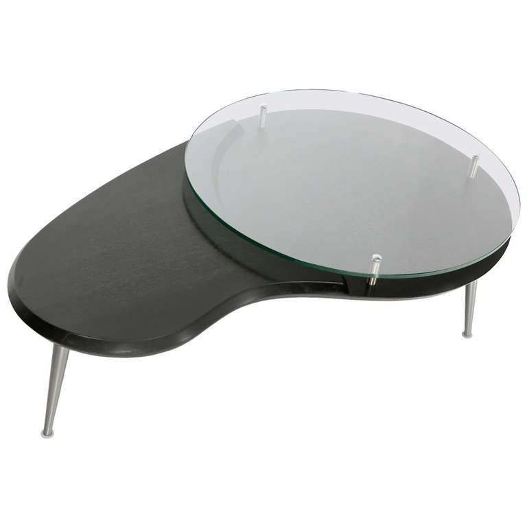 Mid-Century Modern, Organic Kidney Shape, Elevated Glass-Top Coffee Table