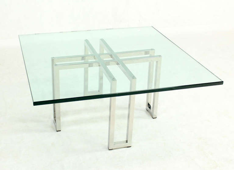 Chrome Base And Square Glass Top Mid Century Modern