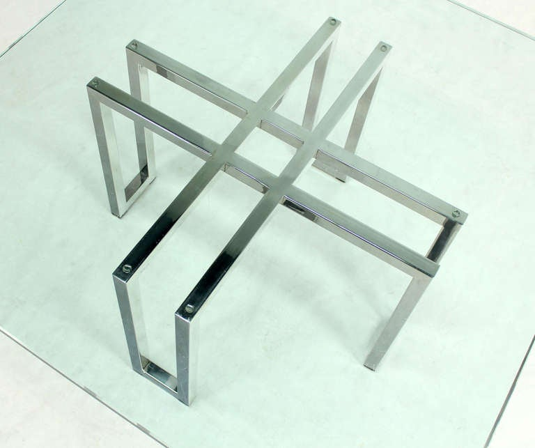 Chrome Base And Square Glass-Top, Mid-Century Modern