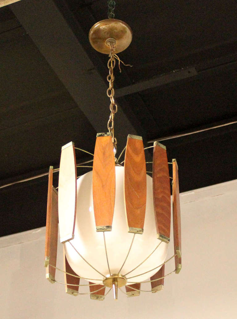 Vintage teak and brass mid century danish modern light for Mid century modern pendant light fixtures