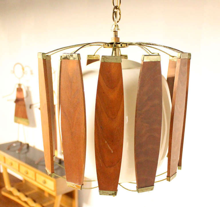 vintage teak and brass mid century danish modern light fixture