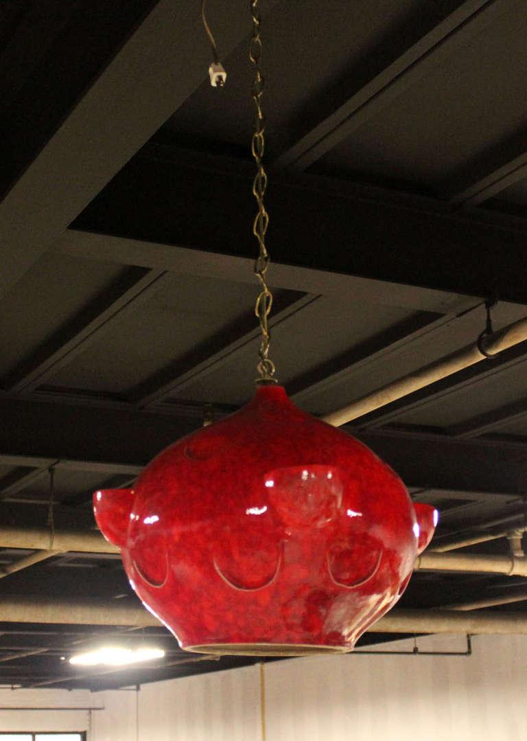 Modern Red Pendant Lighting : Mid century modern red glazed pottery pendant light