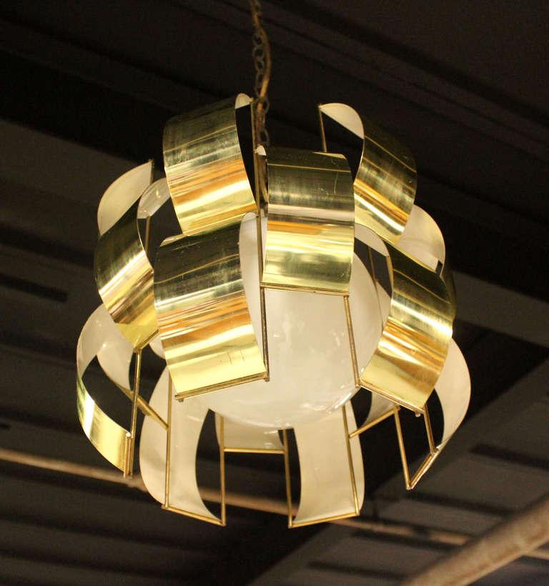 Pair Of Mid Century Modern Brass Light Fixture Chandeliers