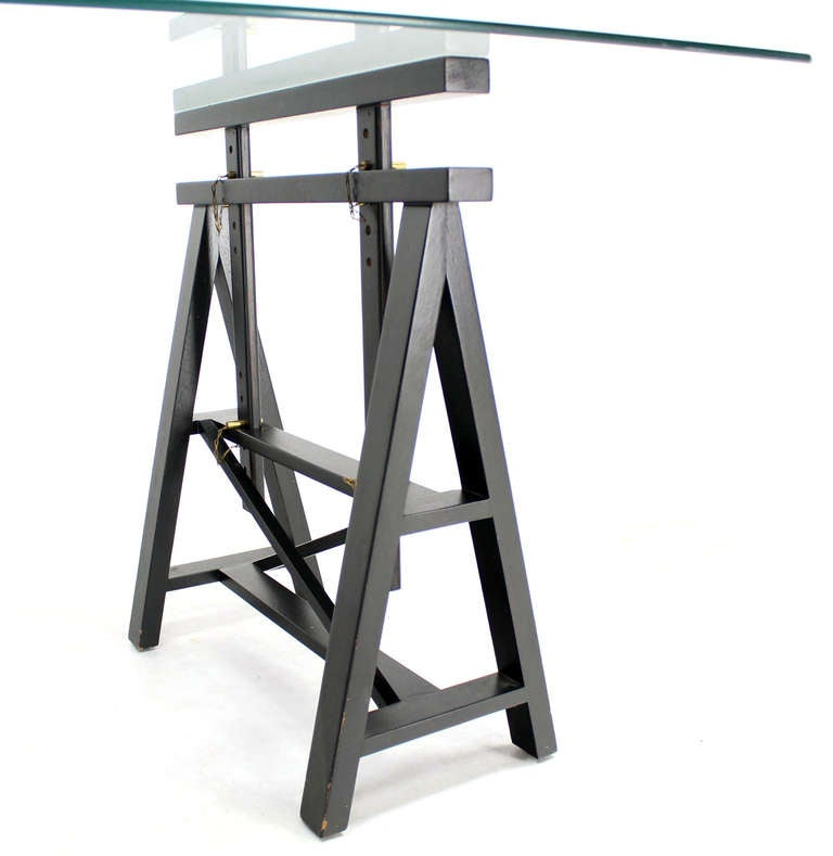 Adjustable Ebony Wood Saw Horses Writing Table At 1stdibs