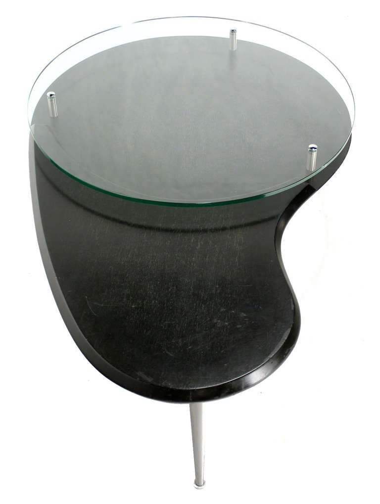 Mid Century Modern Organic Kidney Shape Elevated Glass Top Coffee Table For Sale At 1stdibs