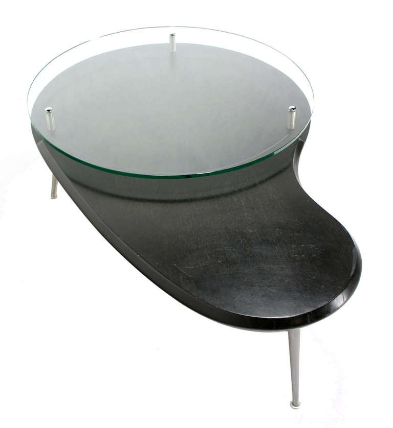Mid Century Modern Kidney Organic Shape Elevated Glass Top Coffee Table At 1stdibs
