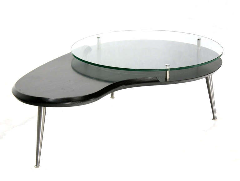 Mid Century Modern Organic Kidney Shaped Elevated Glass Top Coffee Table At 1stdibs