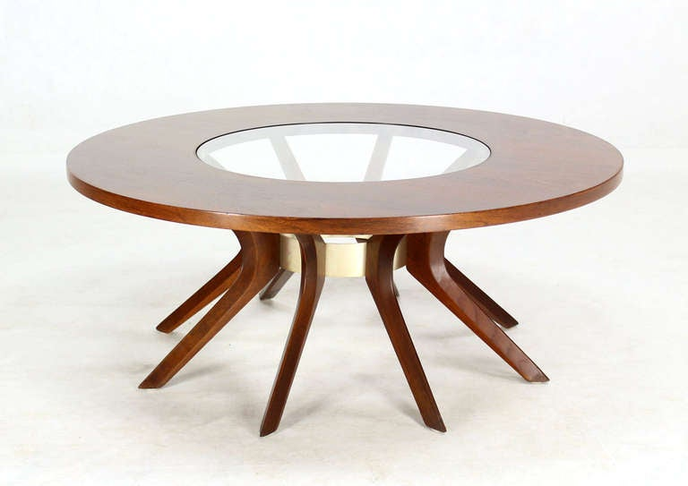 And Glass Spider Legged Mid Century Modern Round Coffee Table Image 8