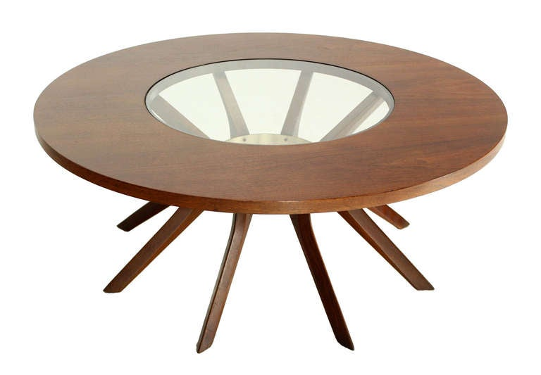 Walnut And Glass Spider Legged Mid Century Modern Round Coffee Table At 1stdibs