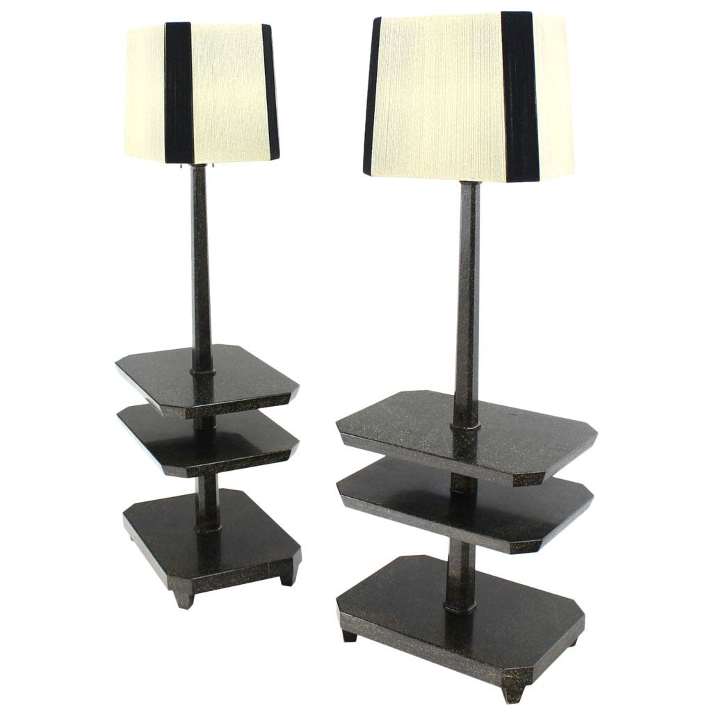 Pair of Black Lacquer 3 Tier Lamps Side Step End Tables Decorative