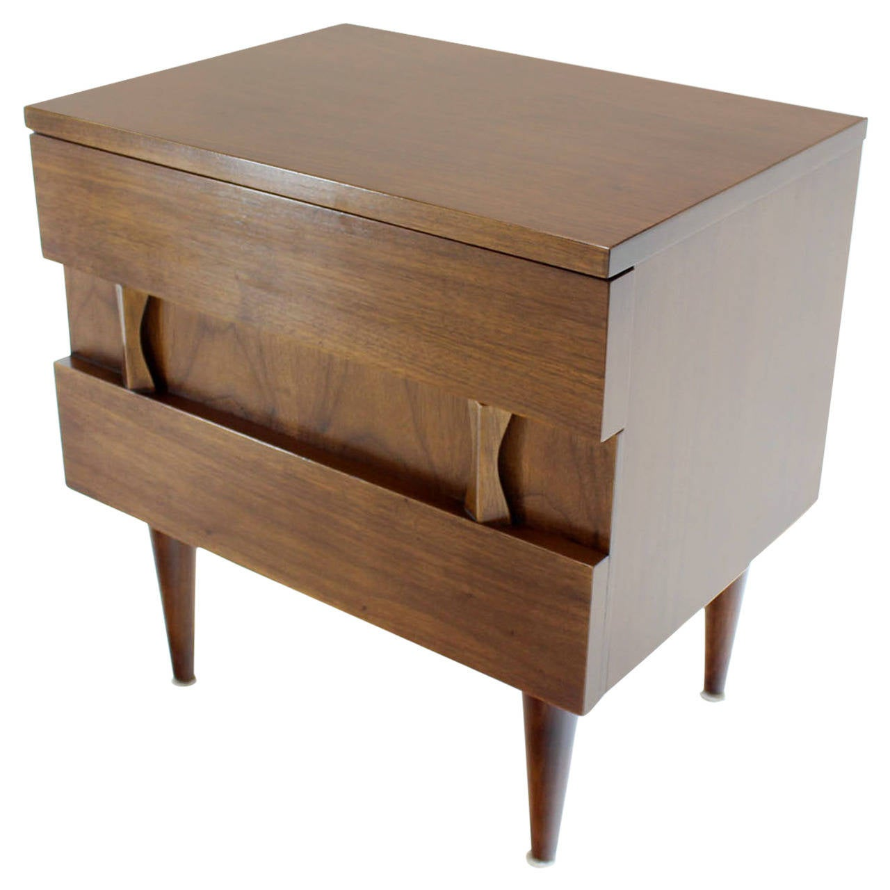 danish midcentury modern walnut end table or night stand for sale  - danish midcentury modern walnut end table or night stand