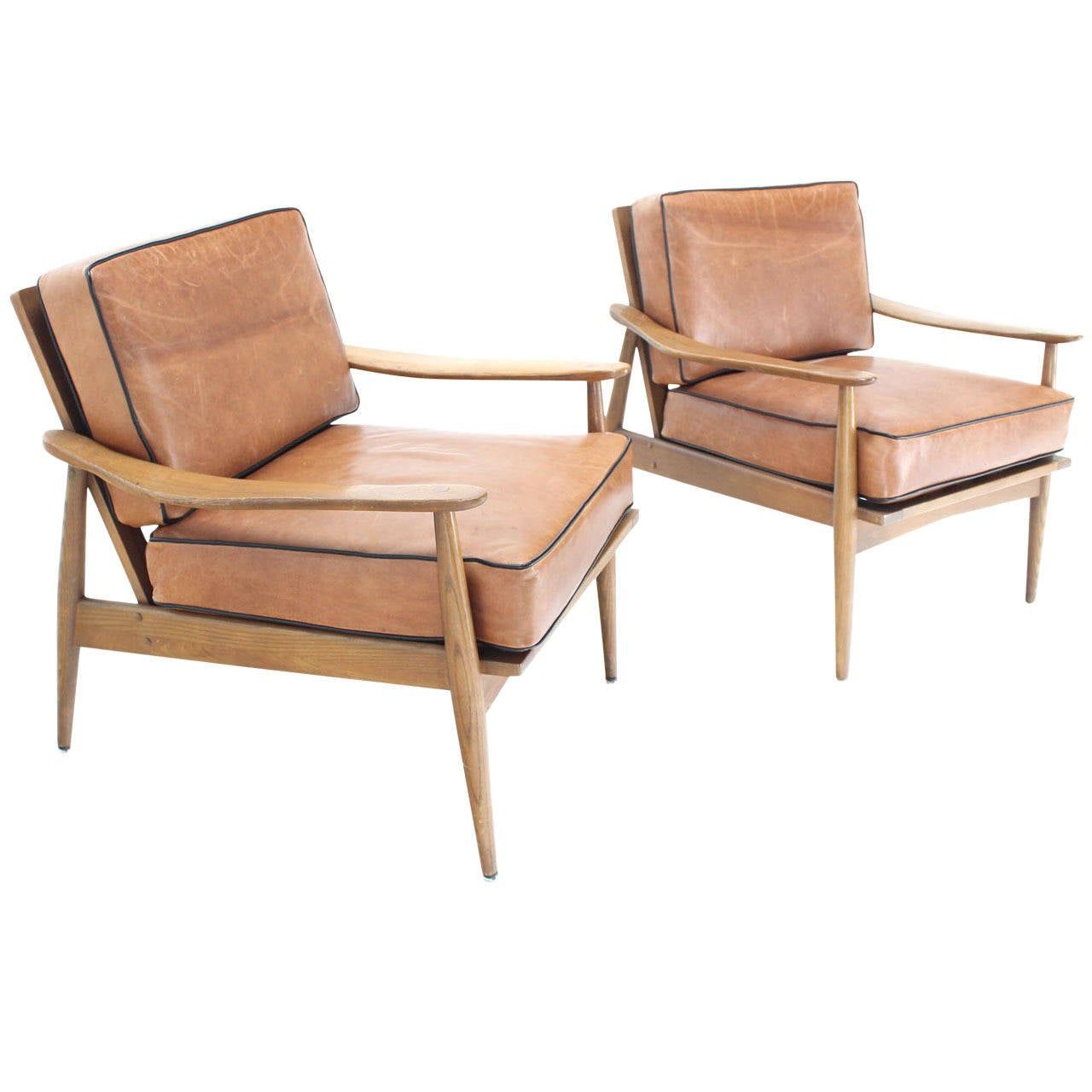 Pair of danish mid century modern leather upholstery for Mid century modern leather chairs