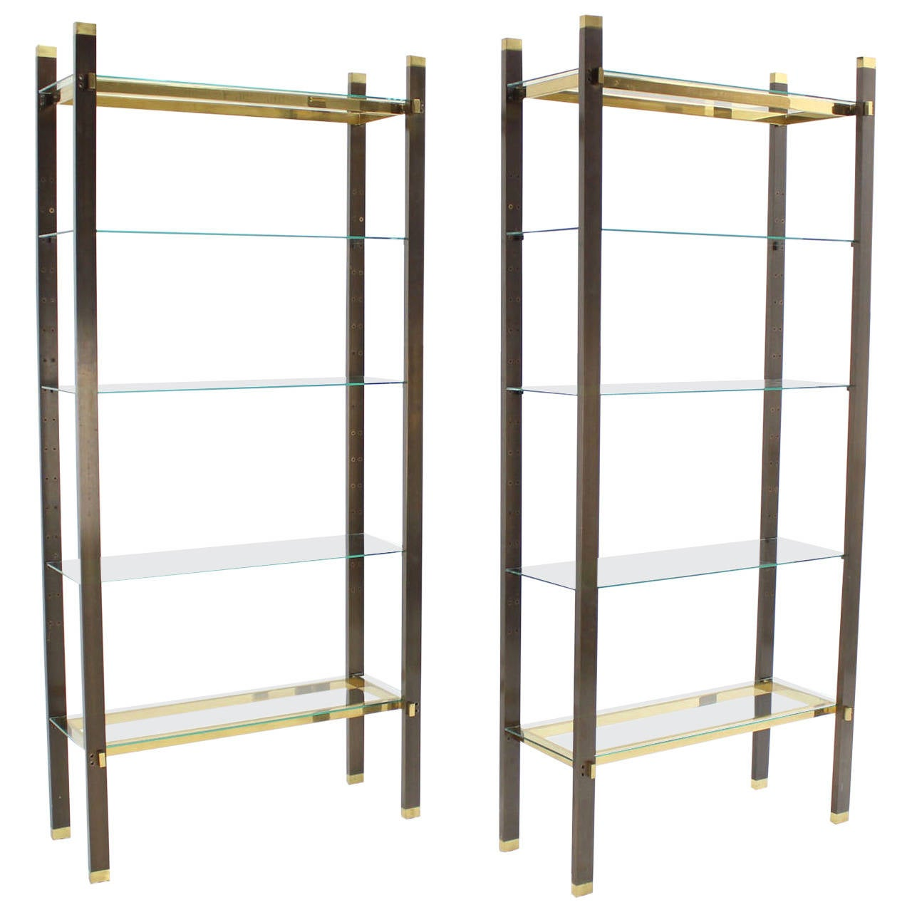 pair of solid brass and glass etageres at 1stdibs. Black Bedroom Furniture Sets. Home Design Ideas