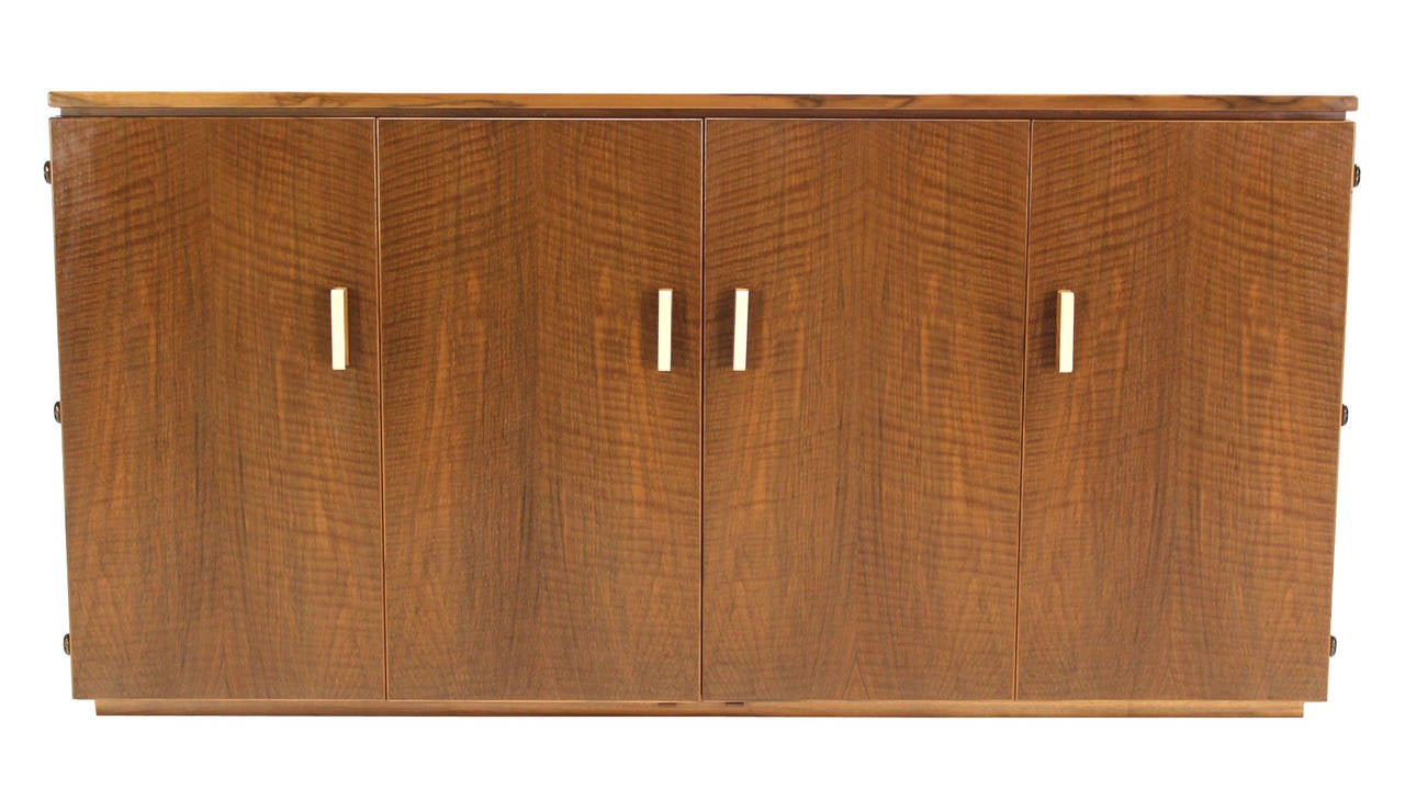 Tiger Maple Sideboard or Credenza with Folding Doors In Excellent Condition For Sale In Rockaway, NJ