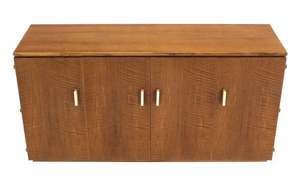 American Tiger Maple Sideboard or Credenza with Folding Doors For Sale