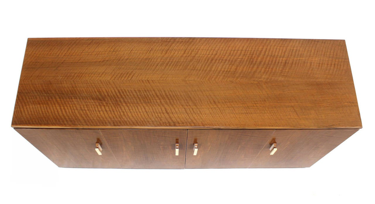 Lacquered Tiger Maple Sideboard or Credenza with Folding Doors For Sale