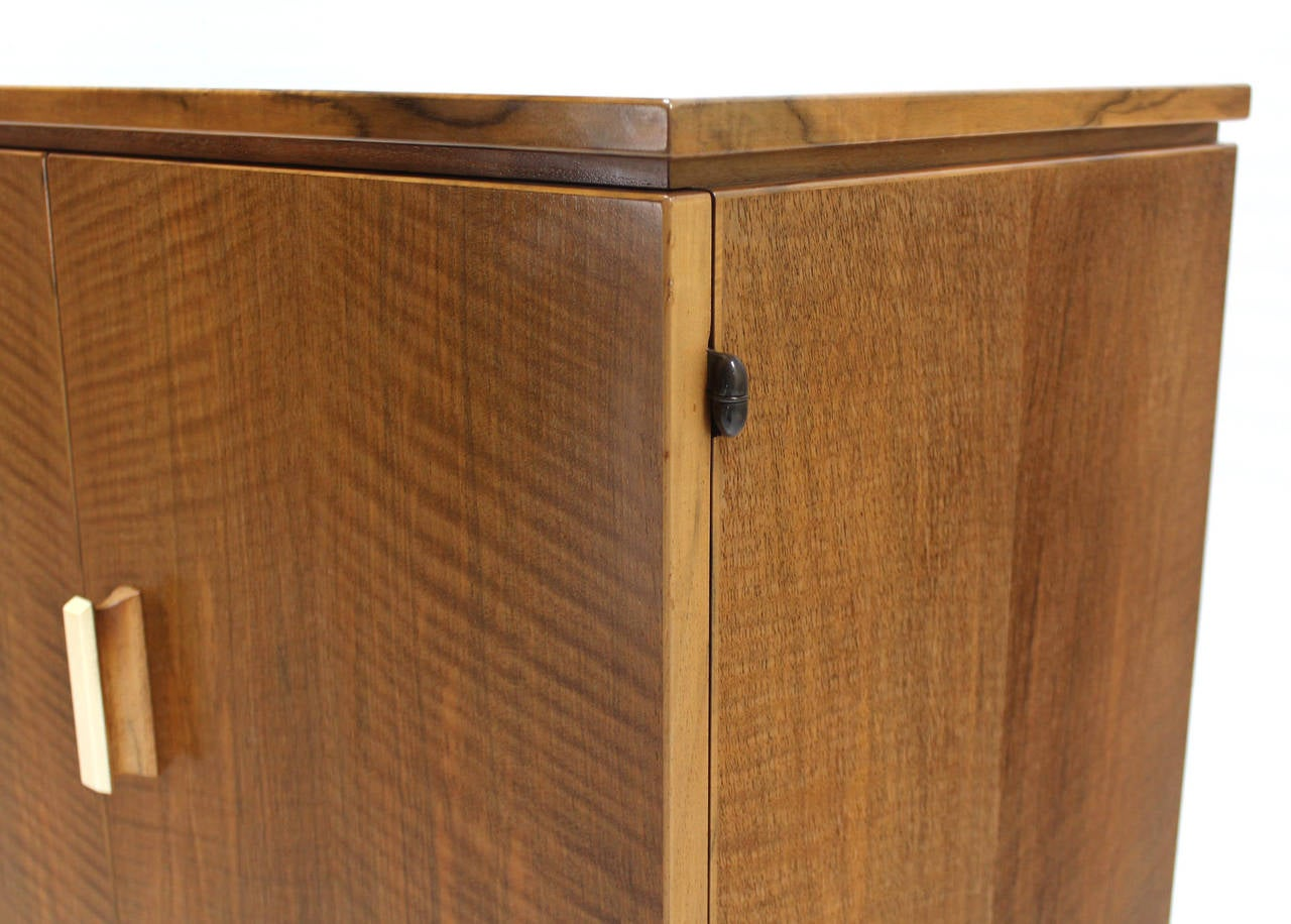 20th Century Tiger Maple Sideboard or Credenza with Folding Doors For Sale