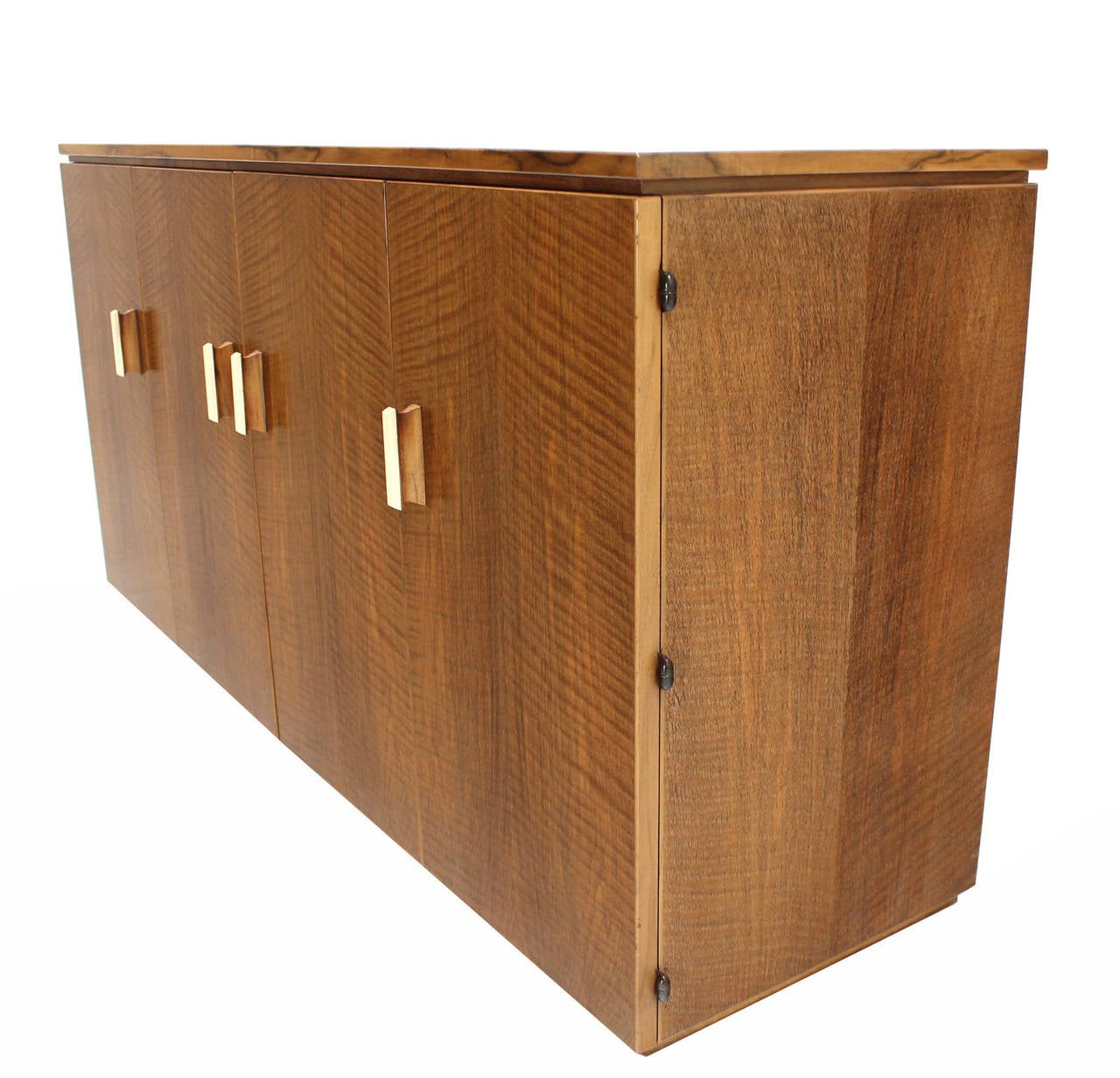 Satinwood Tiger Maple Sideboard or Credenza with Folding Doors For Sale