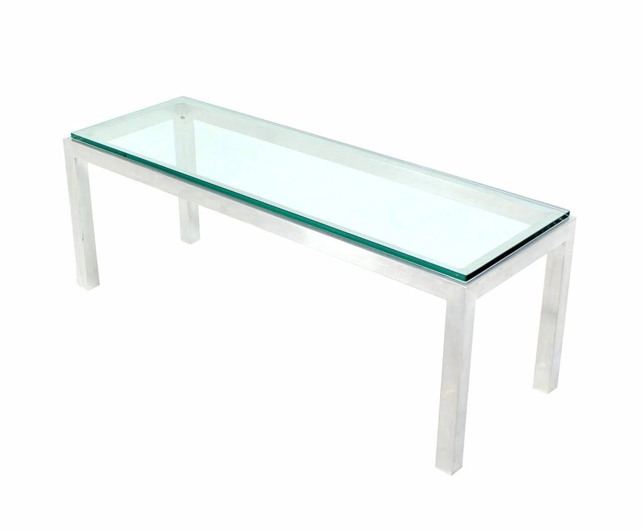 Square Aluminum Metal Frame Small Coffee Side Table Long Rectangle For Sale At 1stdibs