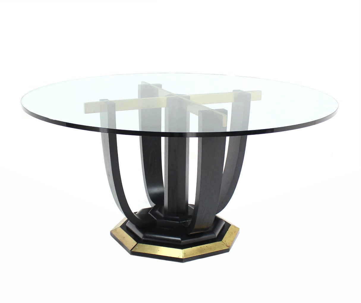 round glass top center or dining table at 1stdibs. Black Bedroom Furniture Sets. Home Design Ideas