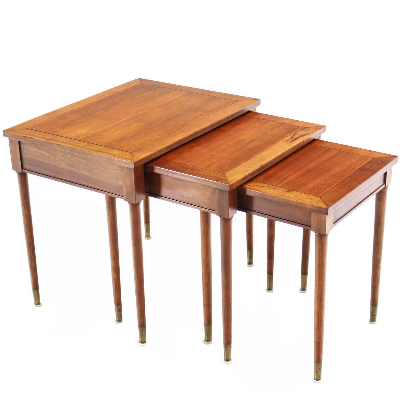 Set of Three Mid-Century Modern Walnut Nesting Tables