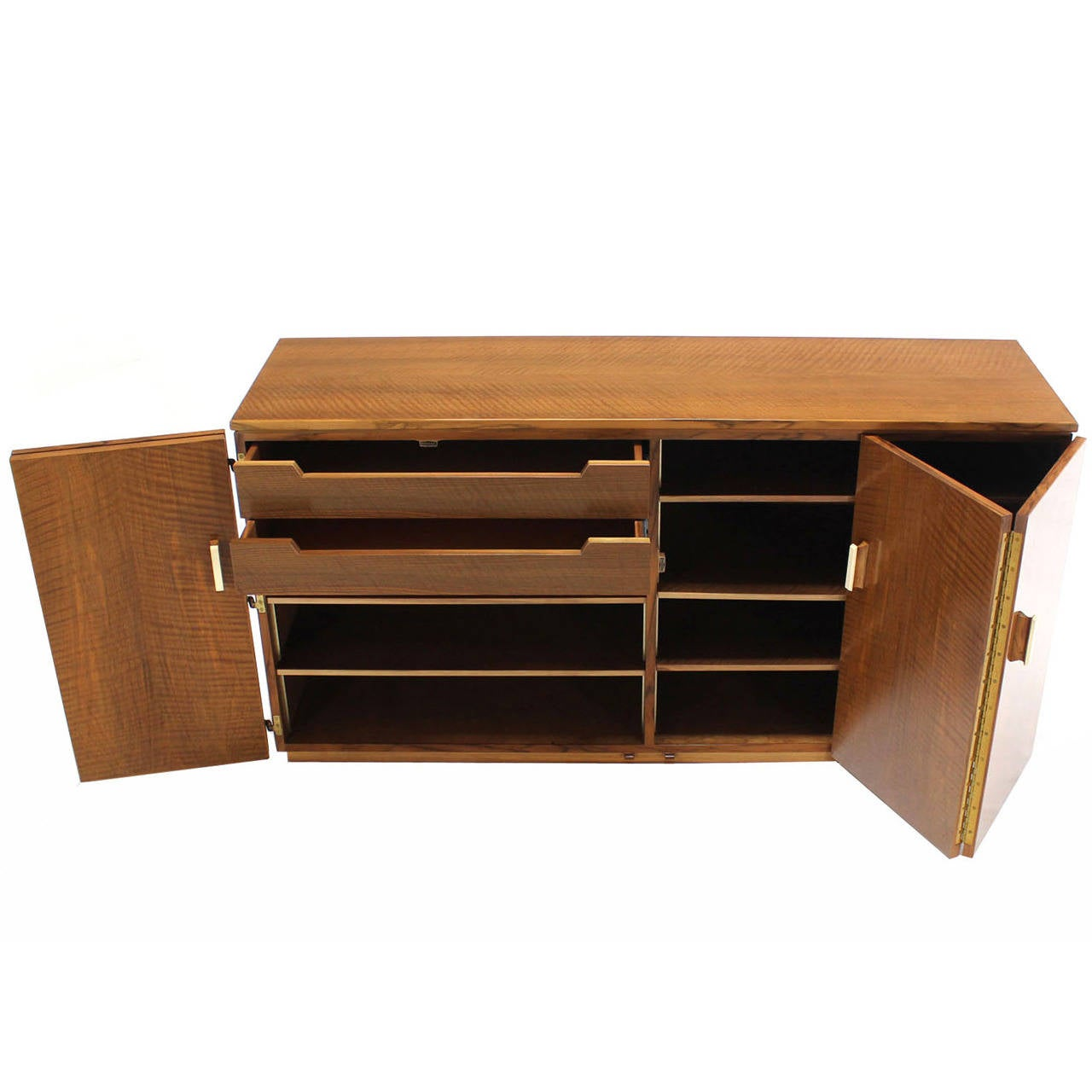 Tiger Maple Sideboard or Credenza with Folding Doors For Sale
