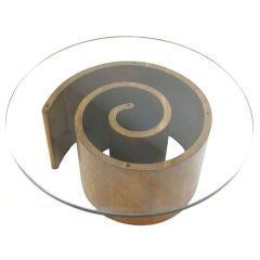 Vladimir Kagan Walnut Glass Top Snail Table