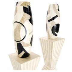 Pair of Large Marble Veneered Vases on Pedestals (Non Matched)