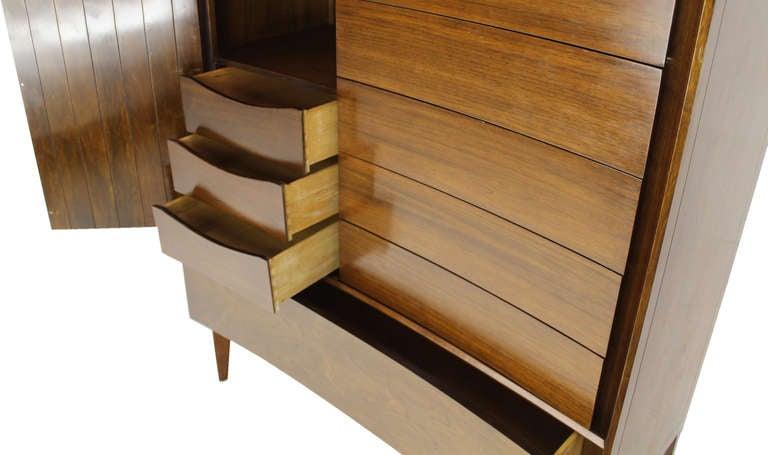 Swedish Edmond Spence Mid Century Danish Modern Walnut High Chest Dresser For Sale