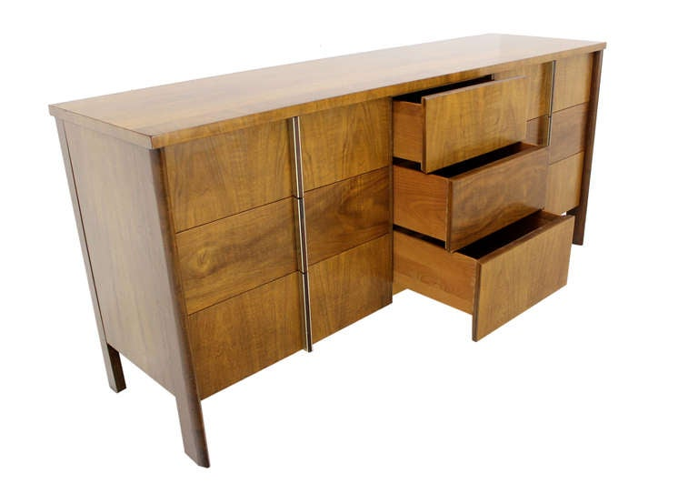 American Mid-Century Modern Burl Walnut John Widdicomb Dresser or Credenza For Sale