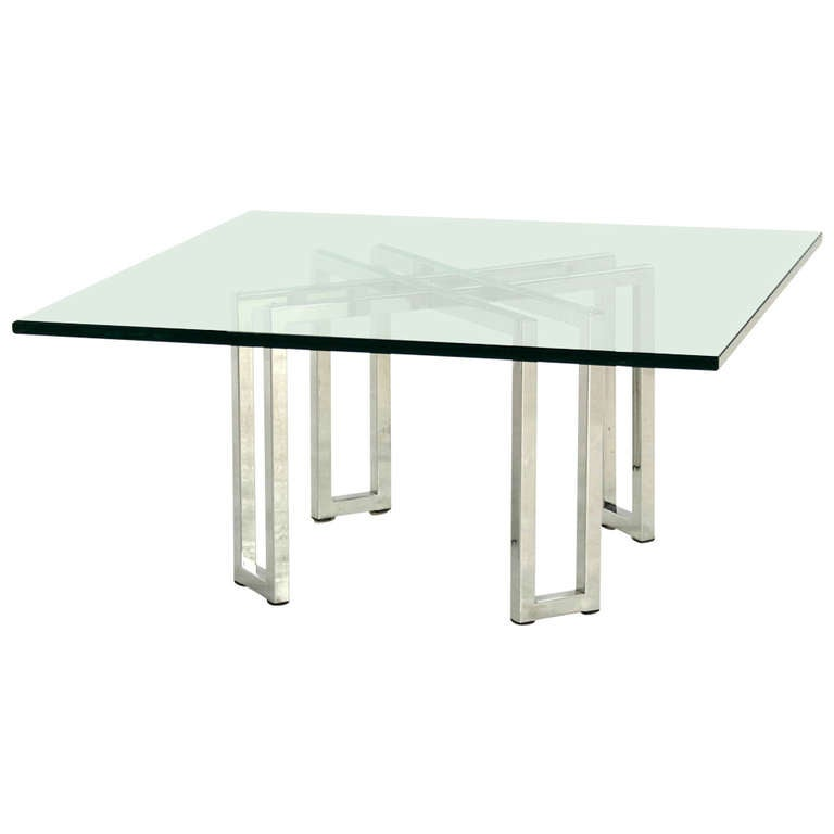 Chrome Base Square Glass Mid-Century Modern Coffee Table